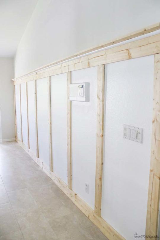 How To Put Up A Board And Batten Wall Without Power Tools 100 Project Diy Wainscoting Wainscoting Wall Board And Batten