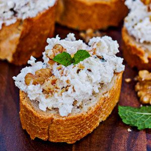 Crostini with Creamy Cheese and Walnuts - Skinny Ms.