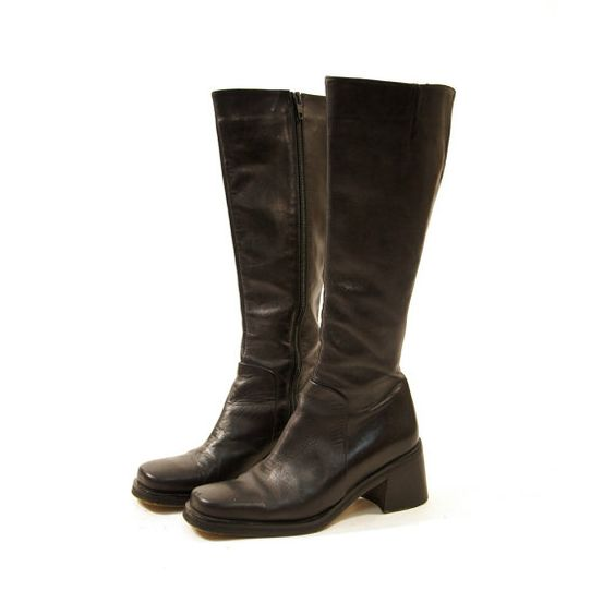 90s knee high black leather boots with square toe by