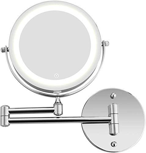 Great For Zxxx Wall Mounted Makeup Mirror Led Lighted Double Sided 10x Magnification 360 Swivel Extendable Cosmetic Vanity Mirror For Bathroom Hotels Beauty To