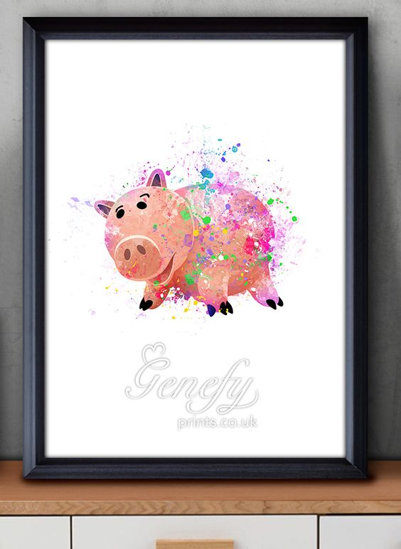 Disney Toy Story Hamm Piggy Bank Watercolor Painting Art Poster Print Wall Decor https://www.etsy.com/shop/genefyprints