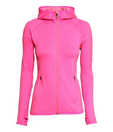 Neon pink fitted jacket in fast-drying thermal fleece with thumb