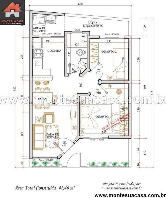Casa 2 Quartos  –  42.46m²
