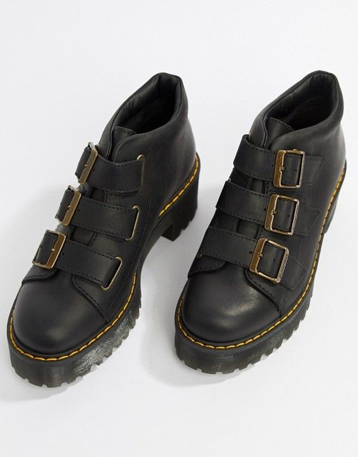 latest discount uk cheap sale great deals 2017 Dr Martens Coppola Black Leather Triple Strap Heeled Ankle ...