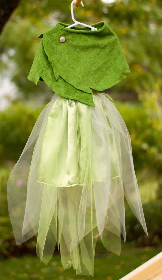 Reservados traje de Tinkerbell con hoja verde por poppysmocks