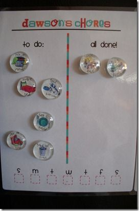 chore chart - good daily visual and records daily completion