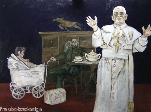 A.Bolzer, LARGE contemporary oilpainting, Pope, 120x160cm, Öl Lw