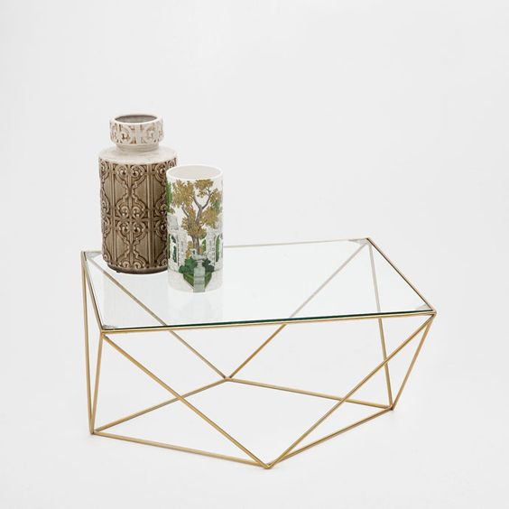 Geometric coffee table occasional furniture bedroom for Table zara home