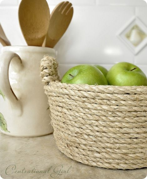 """I'm loving the sisal DIY bowl. Must make about 7 of these to put above my kitchen cabinets. Label each and store my kitchen """"stuff""""."""