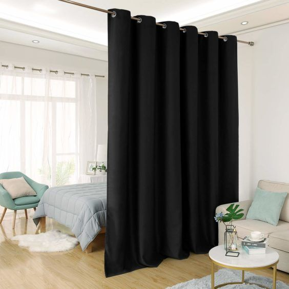 Black Room Divider Curtain Shared Bedroom Privacy Insulated