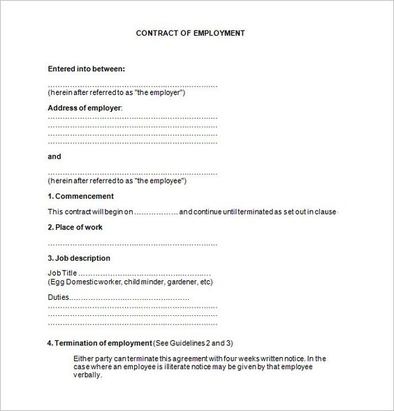 11+ Job Contract Templates u2013 Free Word, PDF Documents Download - contract word