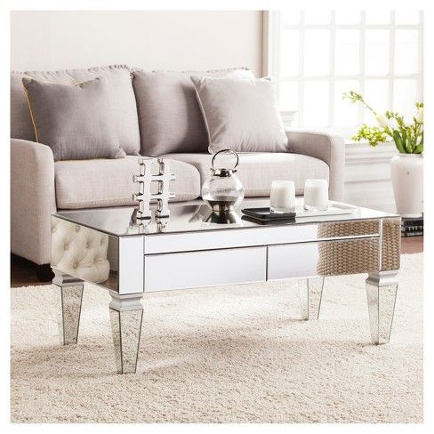 Darla Contemporary Mirrored Rectangular Cocktail Table Mirrored