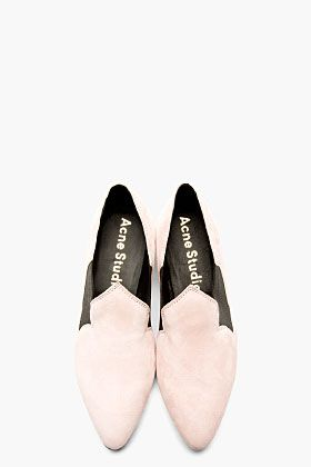 ACNE STUDIOS Rose pink SUEDE cut out ALMITA Flats
