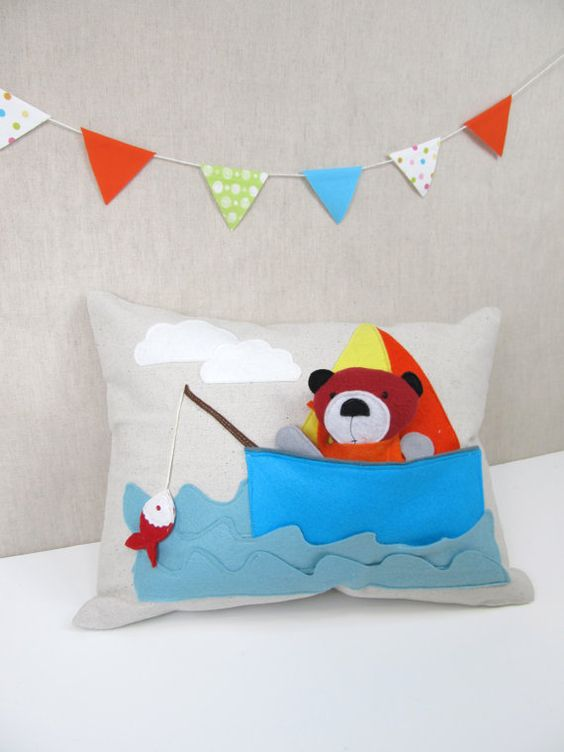 Playful Pillow with Bear in the Boat  Children by ViolaStudio, $59.00: