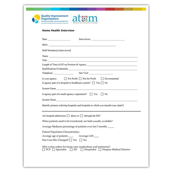 Home health interview form Hospital Readmission \ Care - interview evaluation form