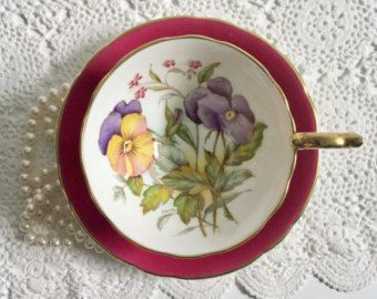 Aynsley Tea Cup & Saucer Hand Painted Signed