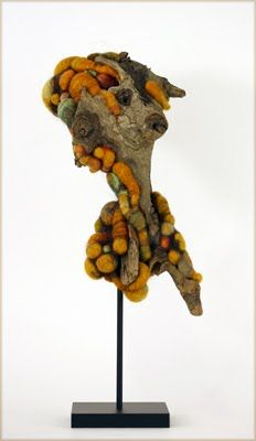 Jodi Colella, DIANA, 7 x 9.5 x 6 in., felted wool and found driftwood.  2011 photo by artist.