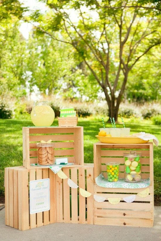Clever lemonade stand made from wooden crates.
