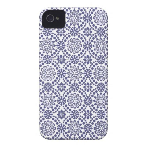 Cute white blue texture floral abstract Case-Mate iPhone 4 cases