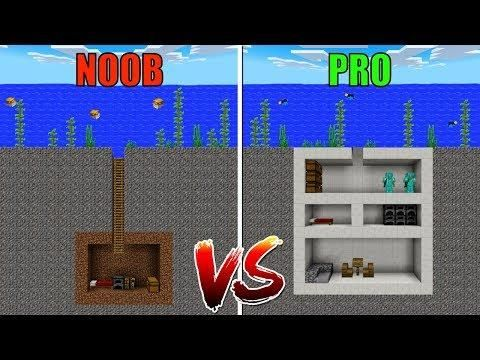 Noob Vs Pro Secret Underwater House In Minecraft Pe Minecraft Underwater House Underwater House Minecraft Underwater
