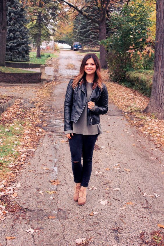 Black leather jacket, Black distressed denim, and wedge booties. | Maryssa Albert Blog
