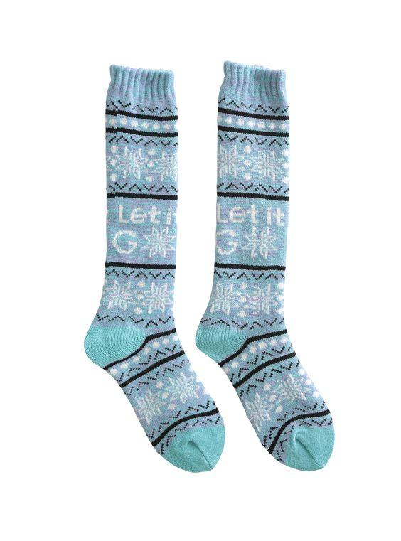 Disney Frozen Let It Go Fair Isle Knee-High Socks | Hot Topic