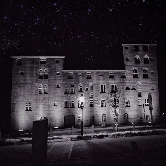 """The Mercer Museum of Doylestown lit up at night, captured by Instagram user @jonathanconnor during the 2014 """"Capture Your #BucksCountyMoment Photo + Video Challenge."""""""
