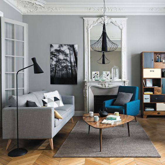 Un appartement tr s parisien pinterest gris appartement parisien et bleu - Deco appartement parisien ...