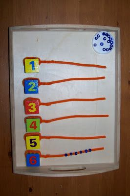 Counting and Number ID Tot Tray using number blocks, pipe cleaners and beads