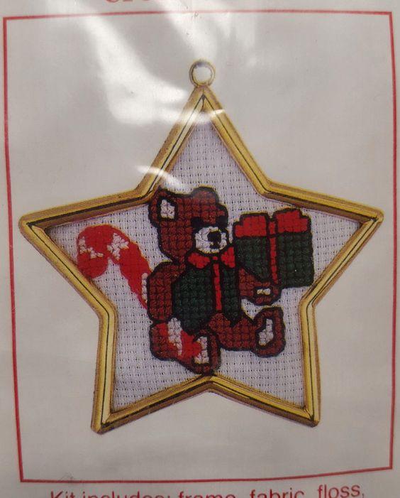 """Santas Workbench Cross Stitch Kit Christmas Teddy Bear with Star Frame 3.5""""   #star #teddy #bear #christmas"""