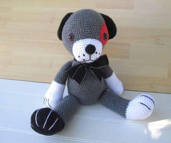 Crochet Gray White Black and Orange Dog by SugarandSpiceKate