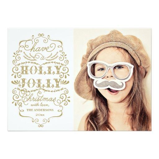 Chic Holly Jolly Christmas Holidays Photo Cards Custom Invitations