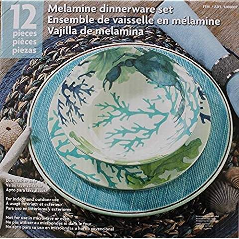 Melamine Blue Green Sea Life 12 Piece Dinnerware Set 4 Dinner Plates 4 Salad Plates And 4 Bowls Dinnerware Set Dinnerware Melamine Dinnerware Sets
