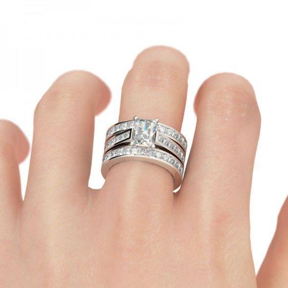 3PC Radiant Cut Created White Sapphire Wedding Set