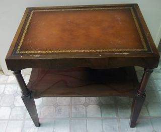 Antique coffee tables w leather inlay mahogany leather top living room side table doezema fine for Mahogany side tables living room