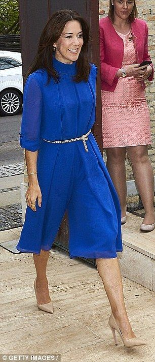 Mary (pictured) looked gorgeous in this stunning blue dress during an event in Denmark in May