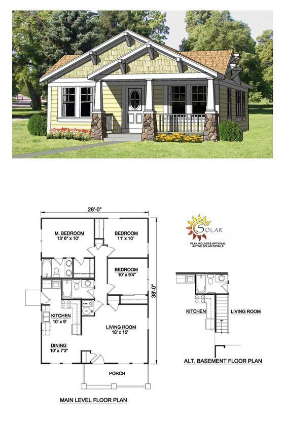 Bungalow Style Cool House Plan Id Chp 27990 Total Living Area 1064 Sq Ft 3 Bedrooms Craftsman Style House Plans Craftsman House Plans Craftsman House