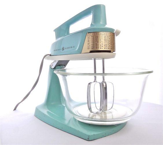 Treasury item vintage mid century general electric aqua for General electric mixer vintage