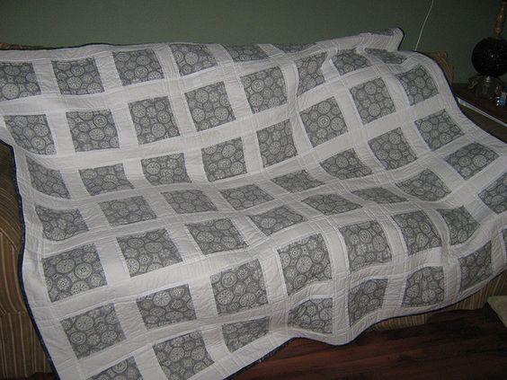 black and white quilt made as a wedding gift