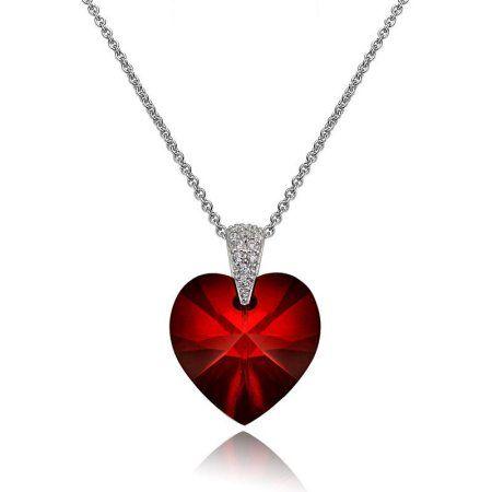 Sterling Silver Elegant Diamond Cluster Love Heart Anniversary Pendant Necklace