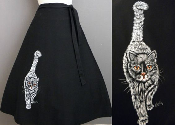 Vintage 70s Novelty Black Signed Gray Tabby Painted Kitty Cat Wrap Swing Skirt by GGMMVintage, etsy