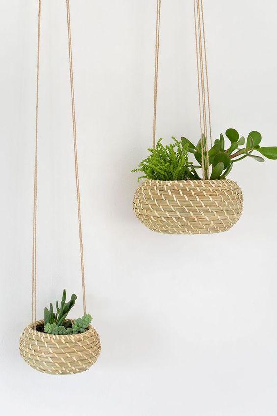 Jardineras colgantes de hierba marina de bricolaje