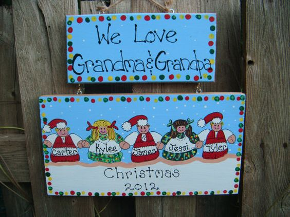 Grandparent personalized Christmas plaque or by LazyHoundWorkshop, $16.00