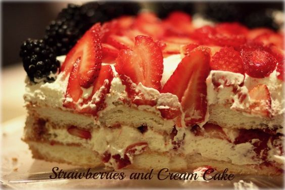Easy Strawberries and Cream Cake