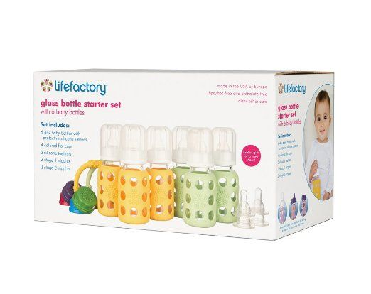 Amazon.com : Lifefactory Six-bottle Starter Set with Glass Bottles, Teether Set, Nipple Set, and Flat Cap Set, Spring/Yellow : Baby