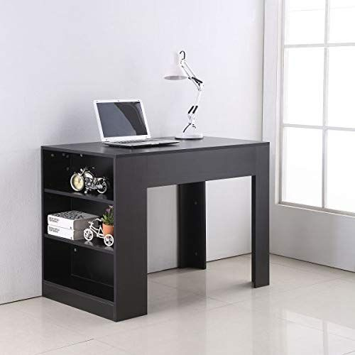 Black Computer Desk 3 Tier Bookshelf Storage Home Office Modern Furniture Workstation Writing Laptop Bookshelf Desk Home Office Computer Desk Cheap Home Office