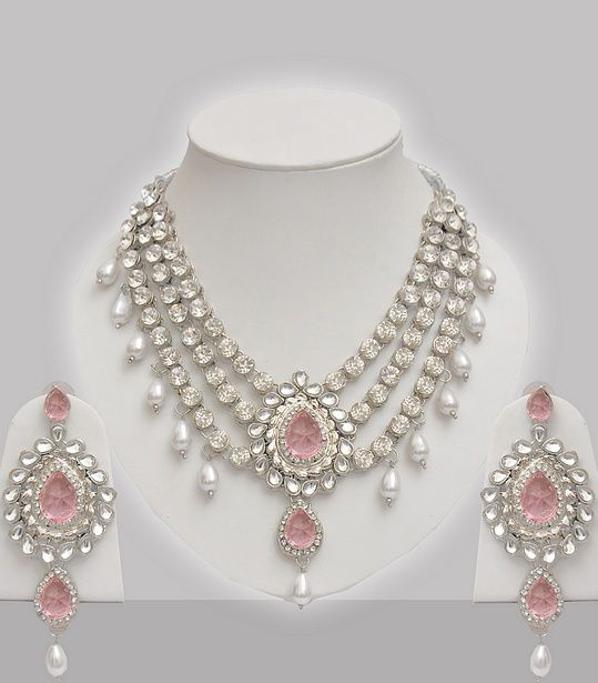 Pink Stone Amp Pearl Studded Indian Jewelry Set Necklace