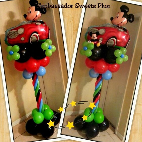 Mickey mouse balloon column special events pinterest for Balloon column decoration