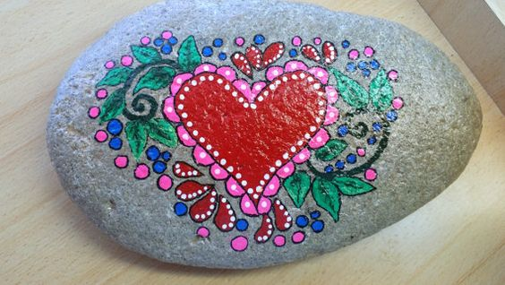 Hand painted Heart Rock Approximately 9 1/2 inches by 6 inches: