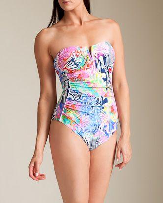 Shan Swimwear: Lollypop Shelf Bra Bandeau Swimsuit at Nancy Meyer